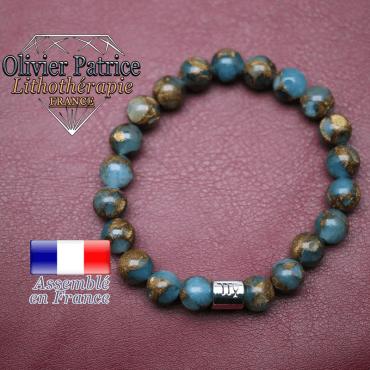 Bracelet bornite bleu et or et son signe astrologique en alliage