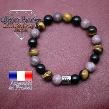 Bracelet 3 pierres de protection et son signe astrologique en alliage