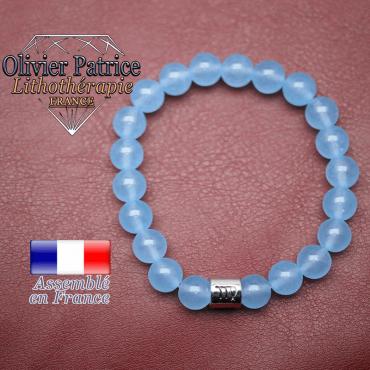 Bracelet agate bleue et son signe astrologique en alliage