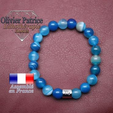 Bracelet agate à bandes bleues et son signe astrologique en alliage