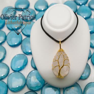 Arbre de vie en cristal de roche et cuivre