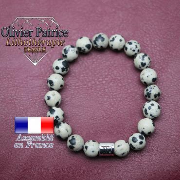 Bracelet jaspe dalmatien et son signe astrologique en alliage