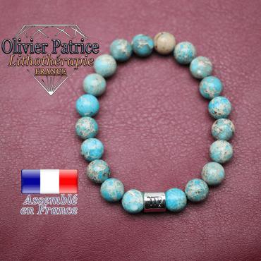 Bracelet jaspe impérial bleu turquoise et son signe astrologique en alliage