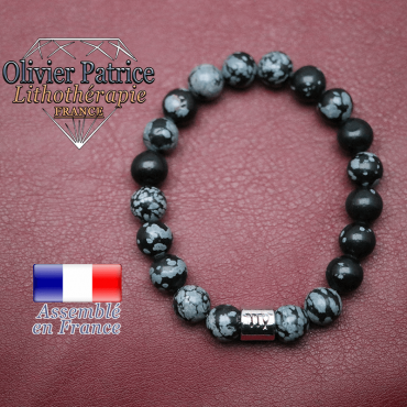 Bracelet obsidienne neige et son signe astrologique en alliage