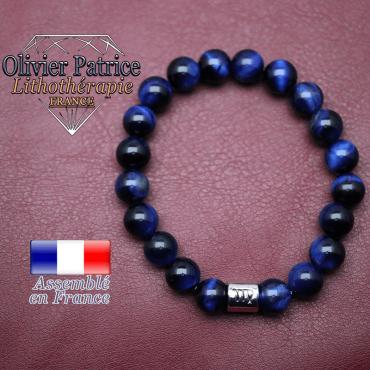 Bracelet Œil de tigre teinte bleue et son signe astrologique en alliage