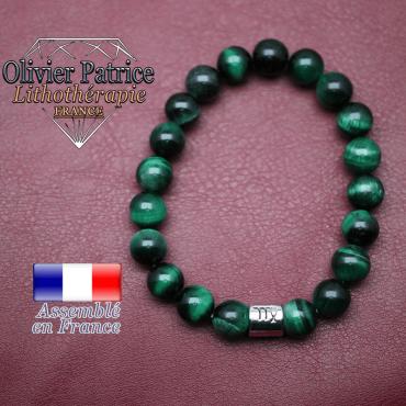 Bracelet Œil de tigre teinte verte et son signe astrologique en alliage
