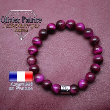 Bracelet Œil de tigre teinte violette et son signe astrologique en alliage
