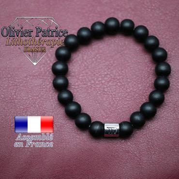 Bracelet onyx mat et son signe astrologique en alliage