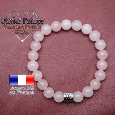 Bracelet quartz rose et son signe astrologique en alliage