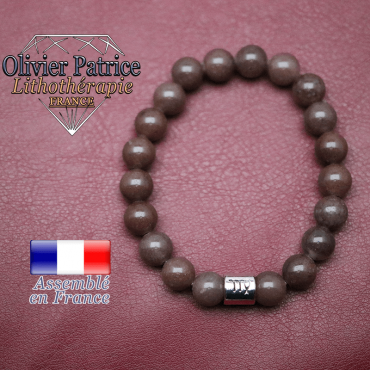 Bracelet de quartz raisin et son signe astrologique en alliage