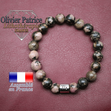 Bracelet rhodonite et son signe astrologique en alliage