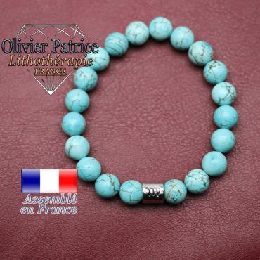 Bracelet turquoise et son signe astrologique en alliage