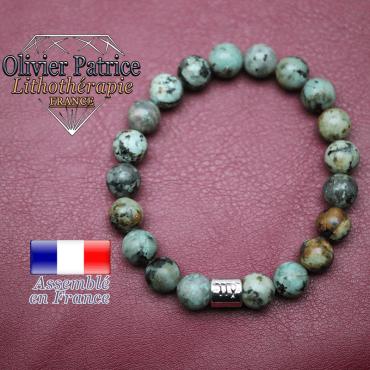 Bracelet turquoise bleue africaine et son signe astrologique en alliage