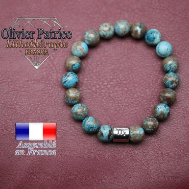 Bracelet agate crazy lace bleu et son signe astrologique en alliage