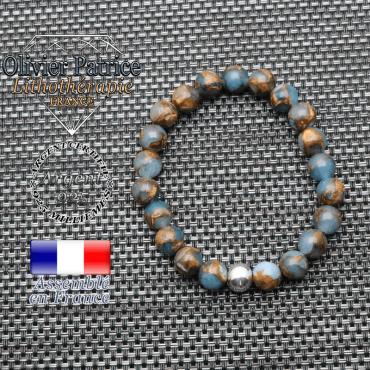 Bracelet bornite bleu et or et ses 3 boules lisses en argent 925 - boule 8 mm