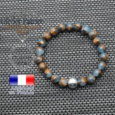 Bracelet bornite bleu et or et ses 3 boules lisses en argent 925 - boule 10 mm