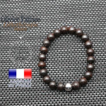 Bracelet oeil de fer et ses 3 boules lisses en argent 925  -  boule 8 mm