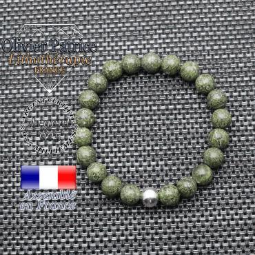 Bracelet serpentine et ses 3 boules lisses en argent 925 - 8 mm