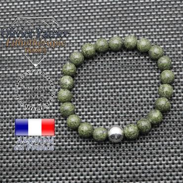 Bracelet serpentine et ses 3 boules lisses en argent 925 - 10 mm