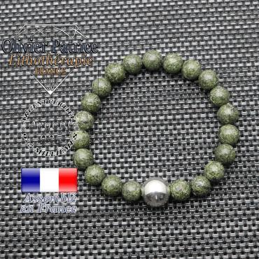 Bracelet serpentine et ses 3 boules lisses en argent 925 - 12 mm