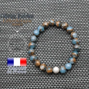 Bracelet bornite bleu et or et boule brillante en argent 925