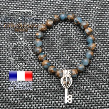 Bracelet bornite bleu et or  cage clé en argent 925