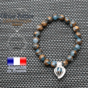 Bracelet bornite bleu et or cage strass argent 925