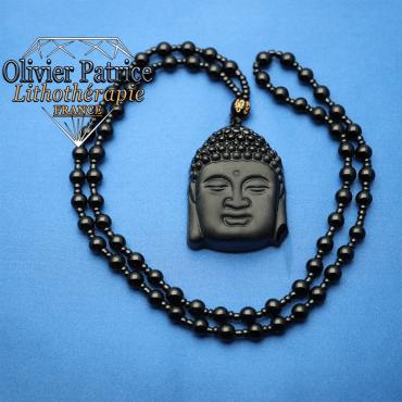 Pendentif grand Bouddha en obsidienne