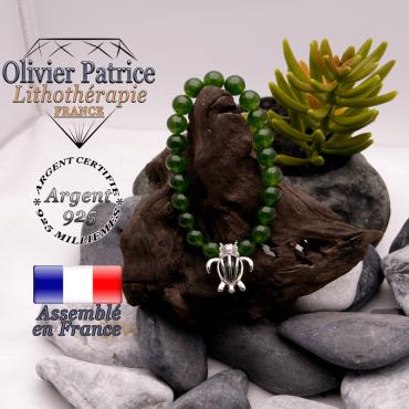 Bracelet jade de Taiwan cage tortue en argent 925