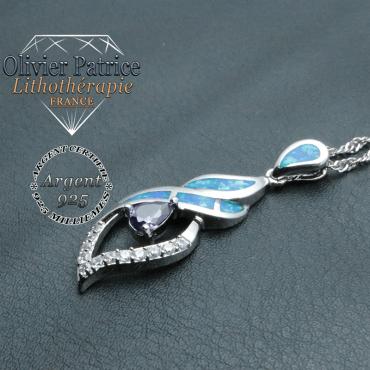 Pendentif tourbillon de feu d'opale en argent