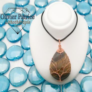 Arbre de vie cuivre et jade pierre naturelle