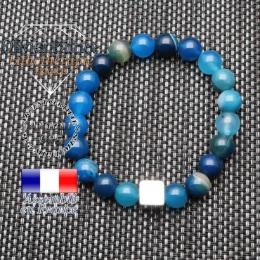 Bracelet agate à bandes bleues et son cube en argent 925