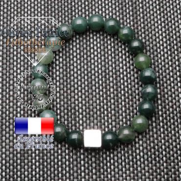 Bracelet agate mousse et son cube en argent 925