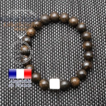 Bracelet bronzite et son cube en argent 925