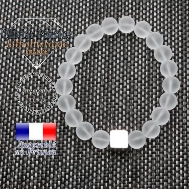 Bracelet cristal de roche opaque et son cube en argent