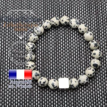 Bracelet jaspe dalmatien et son cube en argent 925