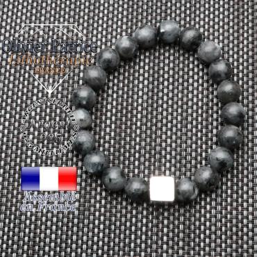 Bracelet larvikite et son cube en argent 925