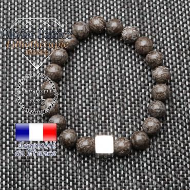 Bracelet obsidienne neige brune et son cube en argent 925