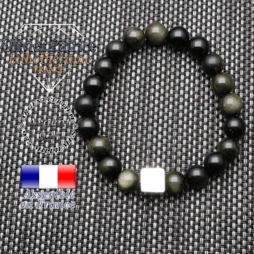 Bracelet obsidienne dorée et son cube en argent 925