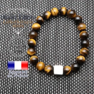 Bracelet Œil de Tigre et son cube en argent 925