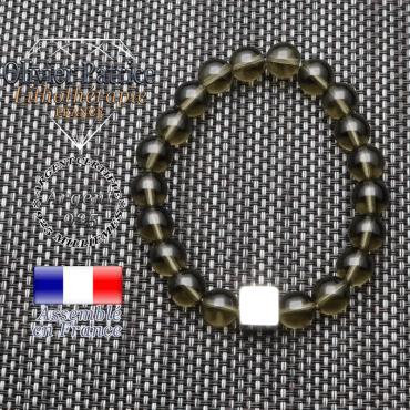 Bracelet quartz fumé et son cube en argent 925