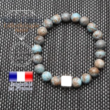 Bracelet agate crazy lace bleu et son cube 10 mm en argent 925