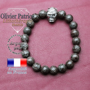 bracelet homme en obsidienne-neige brun pierre naturelle en 10 mm