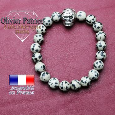 bracelet homme en jaspe dalmatien pierre naturelle en 10 mm