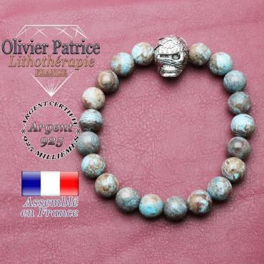 bracelet homme en agate crazy lace bleu pierre naturelle en 10 mm avec tête de momie en argent 925