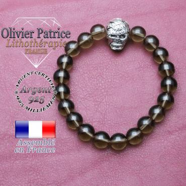 bracelet homme en quartz-fumé  pierre naturelle en 10 mm