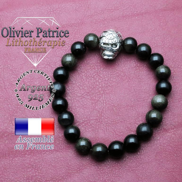 bracelet homme en obsidienne-dore  pierre naturelle en 10 mm