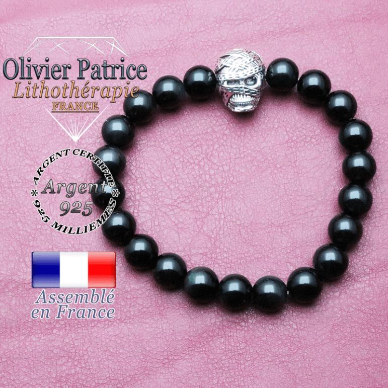 bracelet homme en obsidienne pierre naturelle en 10 mm
