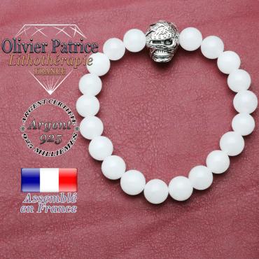 bracelet homme en nacre blanc  pierre naturelle en 10 mm