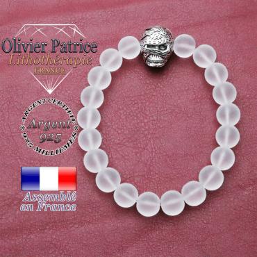 bracelet homme en cristal de roche opaque pierre naturelle en 10 mm
